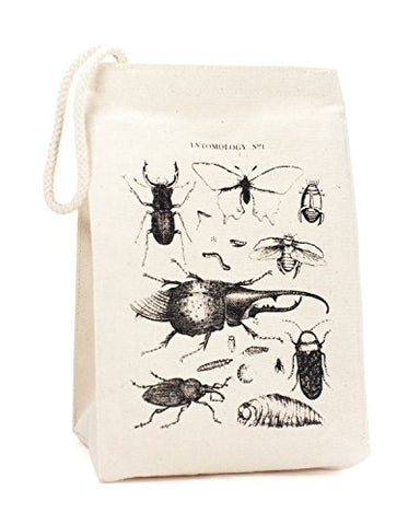 Cognitive Surplus Deluxe Eco-Friendly Recycled Cotton Vintage Insects Lunch/Cosmetics Small Bag