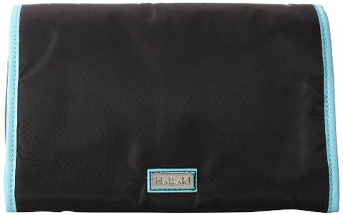 Hadaki Nylon Toiletry Pod Roll-up, Black/Aqua