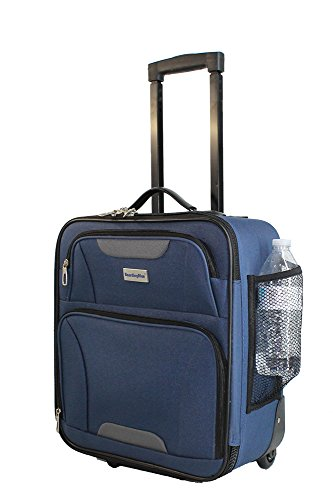 "Boardingblue Airlines Rolling Personal Item Under Seat Mini Luggage 16.5"" (Navy)"