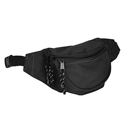 DALIX Fanny Pack w/3 Pockets Traveling Concealment Pouch Airport Money Bag (Black)