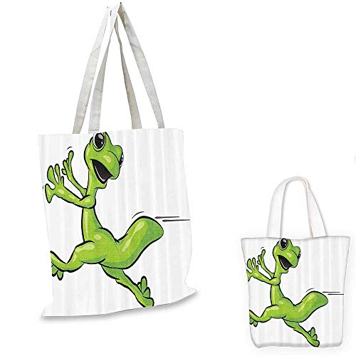Animal canvas messenger bag Cute Gecko Running from Something Funny Character Cartoon Comic Humor