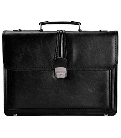 Zlyc Men Vintage Retro Pu Leather Messenger Shoulder Bag Satchel Business Briefcase Black