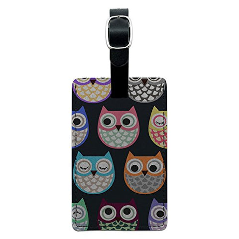 Graphics & More Cute Owl Pattern Leather Luggage Id Tag Suitcase Carry-on, Black