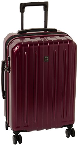 "DELSEY Paris Luggage Helium Titanium 21"" Carry-On Expandable Spinner Trolley, Black Cherry Red"
