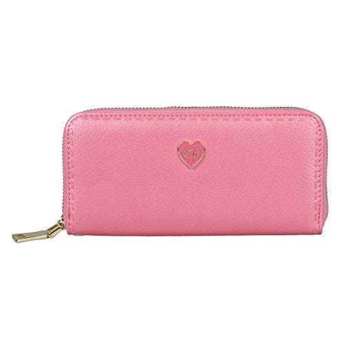 Damara Womens Multi-layer Travelling Wallet with Detachable Wristlet,Rose