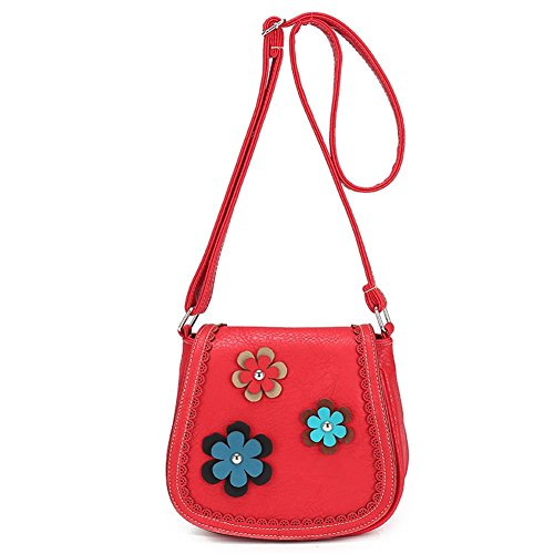 "BIBITIME 3 Kinds Bilayer Flower Crossbody Bags Messenger Bag Shoulder Bag for School Cross Body Bag Travel Bag for Holiday Back to School University /College Campus Bag Shopping Hobo Bag (LHW: 7.9"" 7.1"" 3.5"", Watermelon Red)"