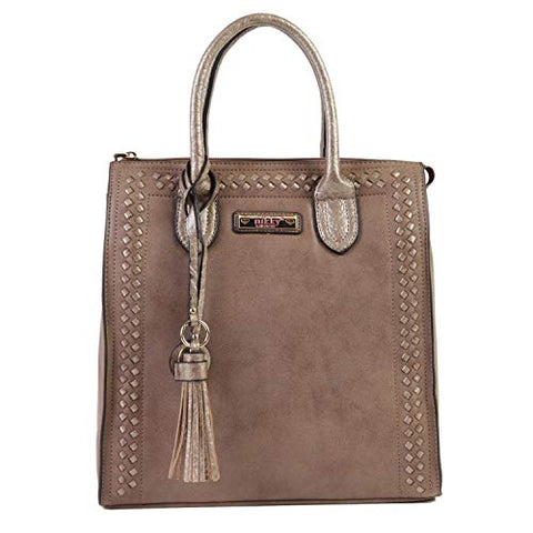 Nikky Women's Top Handle Brown Tote Bag, Spacious Compartment, Decorative Tassel Travel Shoulder, Coffee, One Size