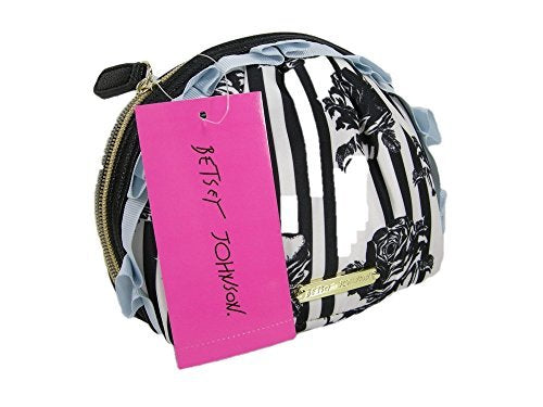 New Betsey Johnson Logo Cosmetics Make Up Bag Case Black White Floral Roses