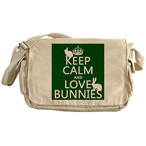 Cafepress - Keep Calm And Love Bunnies - Unique Messenger Bag, Canvas Courier Bag