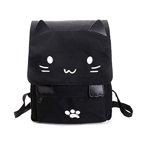 Cute Canvas Cat Print Backpack School Bag Lightweight Bookbags