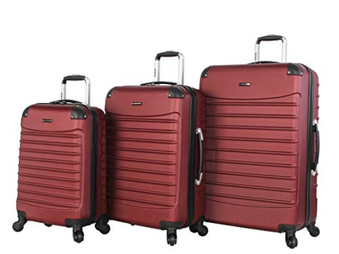 Ciao Luggage Voyager 3 Piece Hardside Spinner Suitcase Set Collection (Voyager Burgundy)