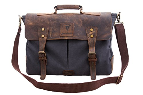"Devil Hunter Genuine Leather Vintage 16"" Laptop Canvas Messenger Satchel Briefcase Bag Grey"