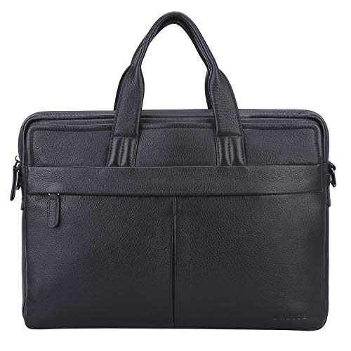 Banuce Black Cowhide Leather Briefcase for Men Soft 13 inch Laptop Business Tote Shoulder Messenger