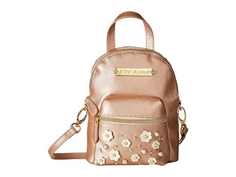 Betsey Johnson Women's Pearl Flowers Backpack Rose Gold One Size