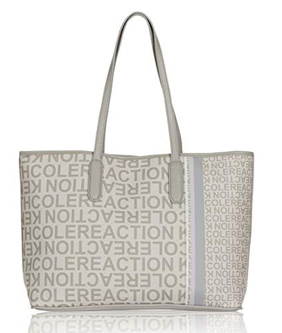 Kenneth Cole Reaction Striper Logo Printed Tote Handbag (Seagull)