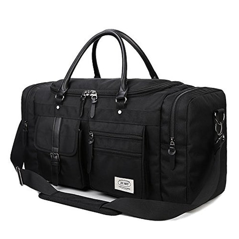 ZUMIT 45L Travel Duffel Bag Mens Womens Large Foldabling Luggage Water-resistant Super Lightweight Shoulder Suitcase Holdall Tote Handbag Brief Case Black #806-S