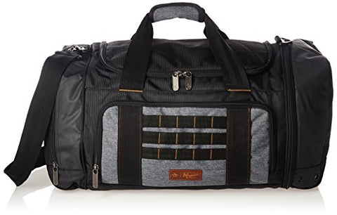 ORIGINAL PENGUIN Weekender Duffel Luggage Bag for Men, Black/Grey Crosshatch, One Size