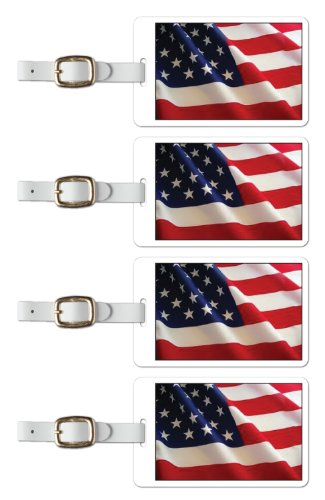 Tag Crazy Us Flag Rendered Premium Luggage Tags Set Of Four, Red, One Size