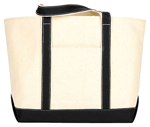 Ultraclub 8872 Extra-Large Canvas Boat Tote Bag - Natural & Black