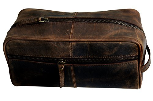 MNI Handmade Buffalo Genuine Leather Toiletry Bag Dopp Kit Shaving and Grooming Kit for Travel ~