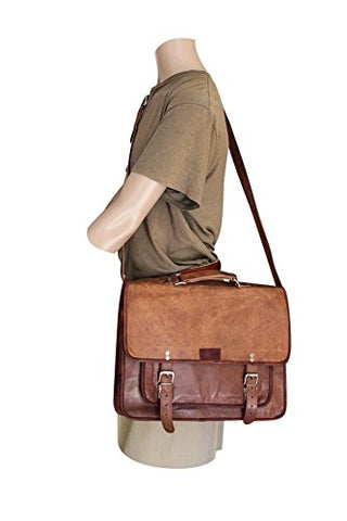 "Men'S Large 16"" Brown Leather Laptop Bag/Briefcase/Computer Messenger Bag With Padded Sleeve"