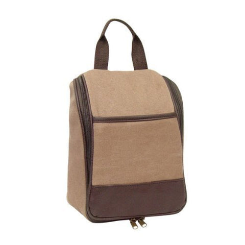 Goodhope Bags Alrington Canvas Cosmetics Hanging Travel Kit, Brown, Set Of 2