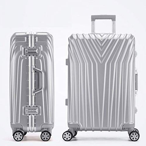 New Aluminum Frame Rolling Luggage Women Travel Bag Trolley Suitcase Carry On Luggage,Silver,24