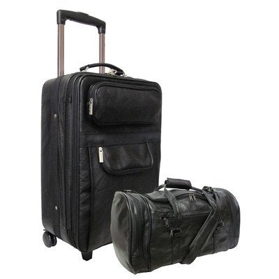 AmeriLeather Leather 2 Pc. Carry-On Set (Black)