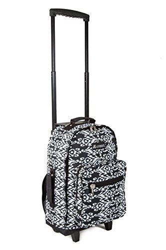 Everest Wheeled Pattern Backpack, Black/White Ikat, One Size