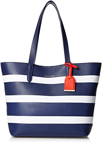 Cole Haan Palermo Small Travel Tote, Blazer Blue/Optic White Stripe, One Size