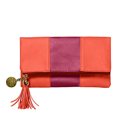 C.R. Gibson Leatherette Fold-Over Accessory Case, Lipstick and Orange