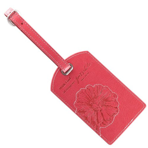 "Pink ""All Things Are Possible"" Luggage Tag - Matthew 19:26"