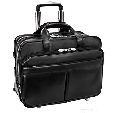 "Mcklein, R Series, Roosevelt, Top Grain Cowhide Leather, 17"" Leather Patented Detachable -Wheeled Laptop Briefcase, Black (84555)"