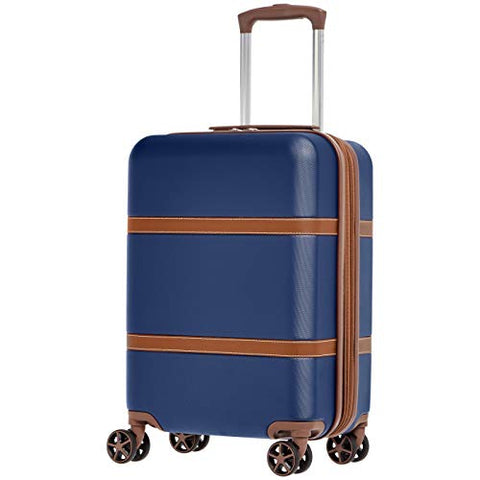 AmazonBasics Vienna Luggage Expandable Suitcase Spinner, 20-Inch Carry-On, Blue