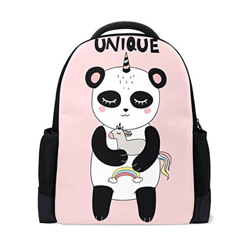 Book bag Happy Smiling Panda Unicorn Backpack School Bag Casual Travel Daypack