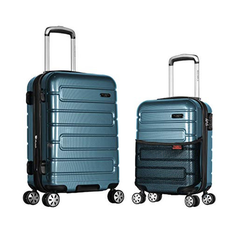 Olympia Nema 2-Piece Pc Hardcase Carry-on Set W/TSA Lock, Teal