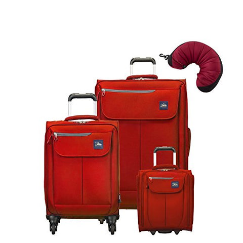 "Skyway Mirage 2.0 | 4-Piece Set | 16"" Underseater, 20"" and 28"" Expandable Spinners, Travel Pillow (True Red)"