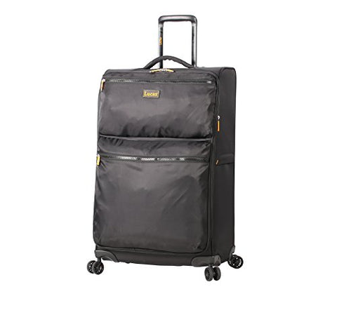 Lucas Ultra Lightweight Large Softside 28 Inch Expandable Luggage With Spinner Wheels (28In, Black)