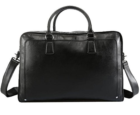 Polare Men's Real Soft Napa Leather 17.3'' Briefcase Laptop Business Bag Black