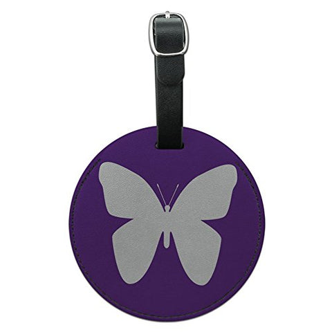 Graphics & More Butterfly Purple Round Leather Luggage Id Tag Suitcase Carry-on, Black