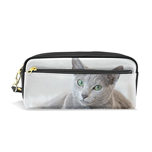 ColourLife Russian Blue Cat PU Leather Pencil Case Holder Pouch Makeup Bags for Boys Girls Adults