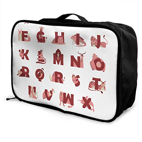 Travel Bags Collection Of Animal Alphabet From A To Z Portable Storage Trolley Handle Luggage Bag