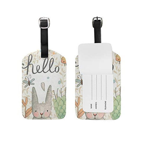 Luggage Tags Hello Cute Cartoon Easter Spring Rabbit Floral Flowers Travel ID Identifier for People