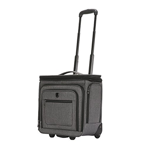 "Travelers Club Luggage 16"" Top Expandable Rolling Underseater W/USB Port, Dark Gray Suitcase,"