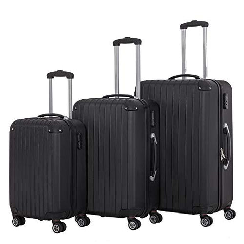 3 Pieces Spinner Luggage Sets black Suitcase Sets Hardshell Lightweight ABS Travel Luggage