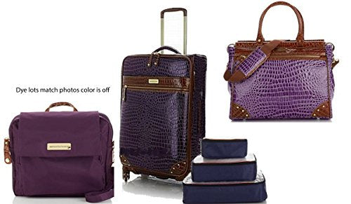 "Samantha Brown Weekender Set 25"" Wheeled Upright + Crossbody Bag, Plus Extras~Purple"