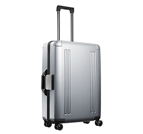 "Zero Halliburton Zro 25"" 4-Wheel Spinner Luggage, Polycarbonate Suitcase, Silver"