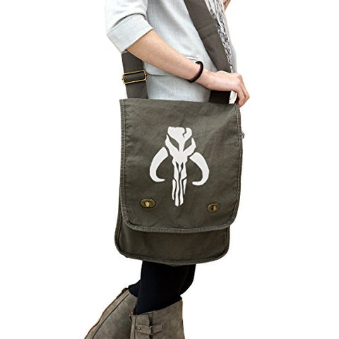 Mandalorian Skull Silhouette Star Wars Inspired 14 Oz. Authentic Pigment-Dyed Canvas Field Bag Tote