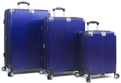 Dejuno Moda Scratch Resistant 3-Piece Hardside Spinner Luggage Set-Navy