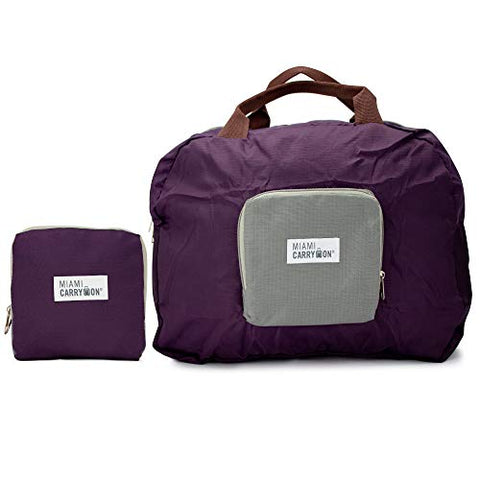 Miami CarryOn Travel Foldable Handbag - Folds to a Compact 6 x 6 x 1-1/2 inches (Purple-Gray)